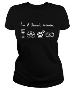 Ladies Tee I'm a simple woman I love wine flip flop dog paw and camping shirt