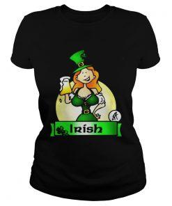 Ladies Tee Irish lady drink beer shirt