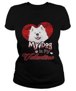 Ladies Tee My Dog Is My valentine Samoyed Shirt