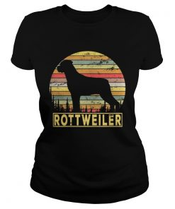 Ladies Tee Rottweiler Retro 70s Vintage Dog Lover Shirt