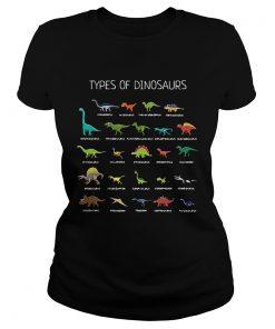 Ladies Tee Types of dinosaurs Diplodocus Allosaurus Parasaurolophus Ankylosaurus shirt