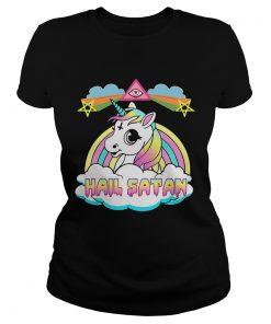 Ladies Tee Unicorn hail Satan shirt