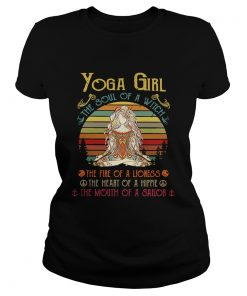 Ladies Tee Yoga girl the soul of a witch the fire of a lioness retro shirt