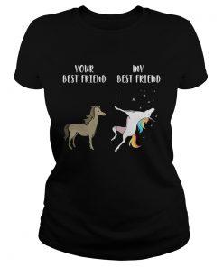 Ladies Tee Your best horse friend my best friend unicorn shirt