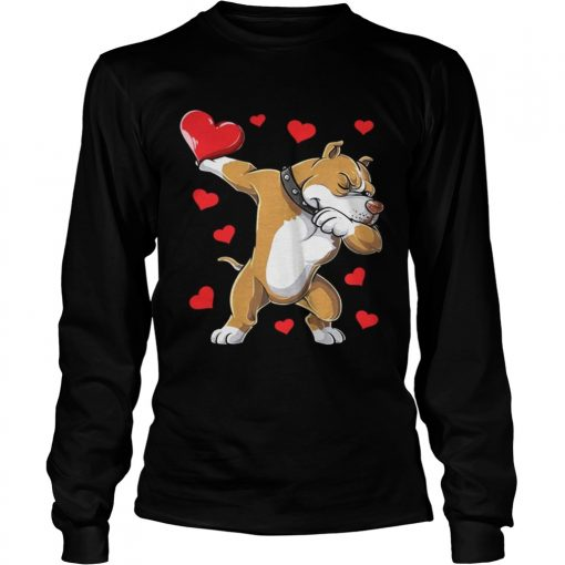 Longsleeve Tee Dabbing Pit Bull Valentines Day Dog Lover Heart Shirt