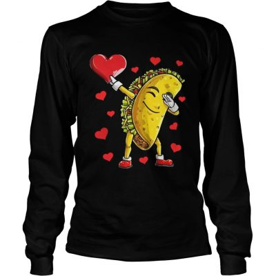 Longsleeve Tee Dabbing Taco Heart Valentines Day Food Lovers Shirt