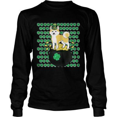 Longsleeve Tee Lucky Shiba Inu Shamrock St Patricks Day Shirt