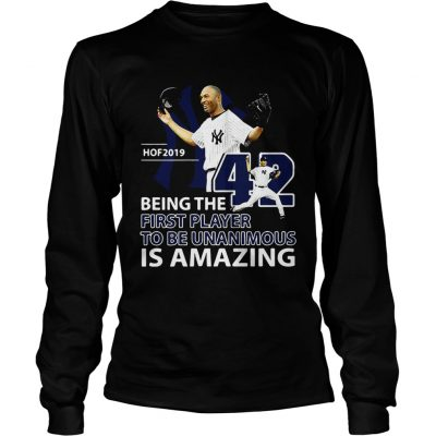 Longsleeve Tee Mariano Rivera Hof 2019 Being the first player to be unanimous shirt