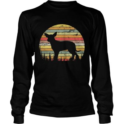 Longsleeve Tee Mexican Hairless Dog Retro 70s Vintage Dog Shirt