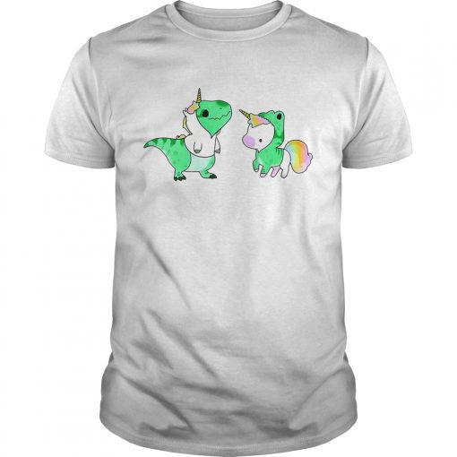 Guys Baby Dinosaur TRex and Unicorn shirt