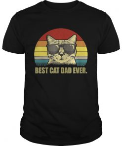 Guys Best Cat Dad Ever Sunset shirt