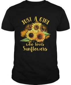 Guys Butterfly Just a girl who loves sunflowers shirt