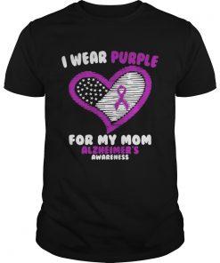 Guys Cancer I wear purple for my mom Alzheimers awareness shirt