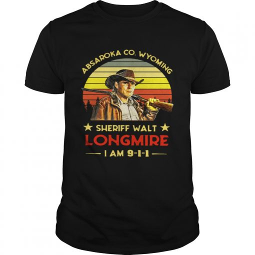 Guys Craig Johnson Absaroka Co Wyoming Sheriff Walt Longmire I am 9 1 1 retro shirt