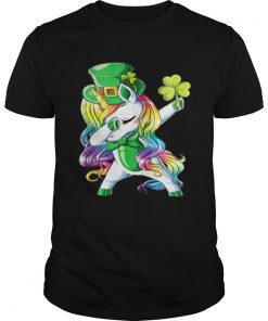 Guys Dabbing unicorn Irish St Patricks shirt