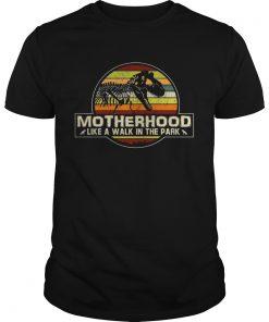 Guys Dinosaur Motherhood like a walk in the park vintage sunset shirt