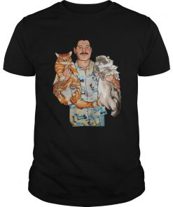 Guys Freddie Mercury hug cats shirt