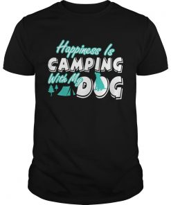 Guys Happiness Is Camping With My Dog TShirt