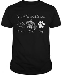 Guys Im a simple woman I love sunshine turtles and dogs shirt