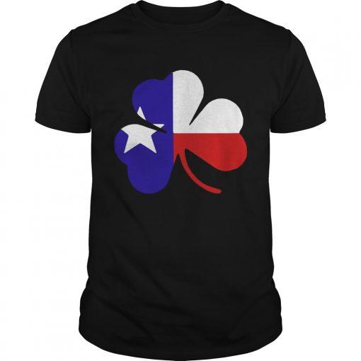 Guys Irish Texas Flag Shamrock St Patricks TShirt