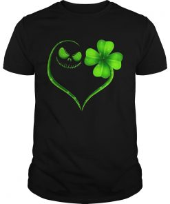 Guys Jack Skellington and Irish Four Leaf Clover shirt