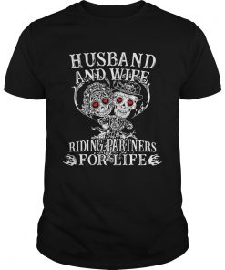 Guys Skeletons Husband and wife riding partners for life shirt