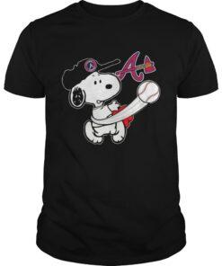 Guys Snoopy Play Baseball TShirt For Fan Braves Team