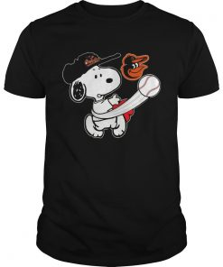 Guys Snoopy Play Baseball TShirt For Fan Orioles Team