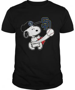 Guys Snoopy Play Baseball TShirt For Fan Padres Team