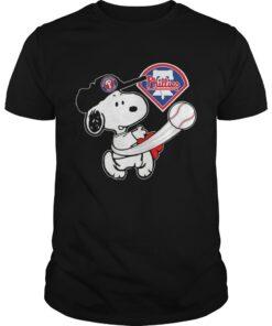 Guys Snoopy Play Baseball TShirt For Fan Phillies Team