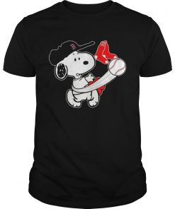 Guys Snoopy Play Baseball TShirt For Fan Red Sox Team
