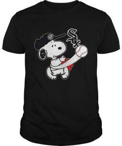Guys Snoopy Play Baseball TShirt For Fan White Sox Team