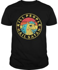 Guys Vintage Unicorn Kill People Hail Satan shirt