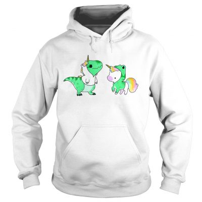 Hoodie Baby Dinosaur TRex and Unicorn shirt