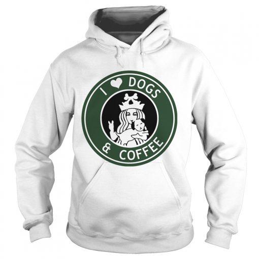 Hoodie Starbucks Coffee I love dogs and coffee shirt