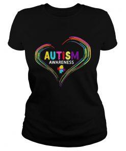 Ladies Tee Autism Awareness April World Heart Shirt