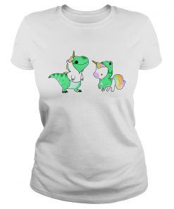Ladies Tee Baby Dinosaur TRex and Unicorn shirt