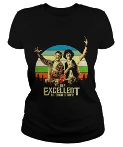 Ladies Tee Bill and Teds be excellent to each other vintage sunset shirt
