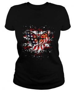 Ladies Tee Butterfly American flag shirt