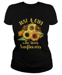 Ladies Tee Butterfly Just a girl who loves sunflowers shirt