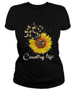 Ladies Tee Butterfly Sunflower Country life shirt