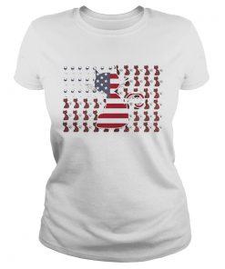 Ladies Tee Cat and Wine American Flag shirt