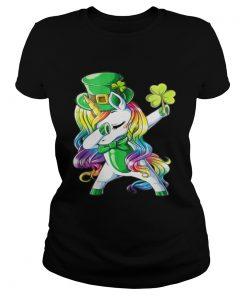 Ladies Tee Dabbing unicorn Irish St Patricks shirt