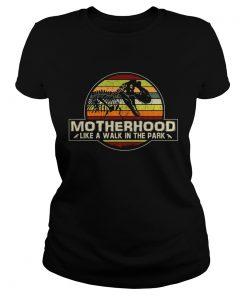Ladies Tee Dinosaur Motherhood like a walk in the park vintage sunset shirt