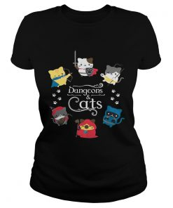 Ladies Tee Dungeons and cats shirt