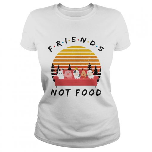 Ladies Tee Friends not food vintage sunset shirt