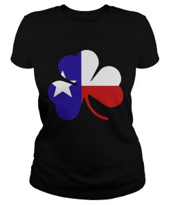 Ladies Tee Irish Texas Flag Shamrock St Patricks TShirt