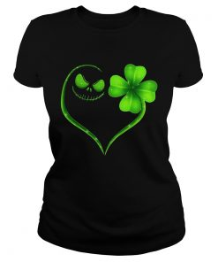 Ladies Tee Jack Skellington and Irish Four Leaf Clover shirt