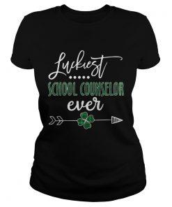 Ladies Tee Luckiest School Counselor Ever Irish shirt
