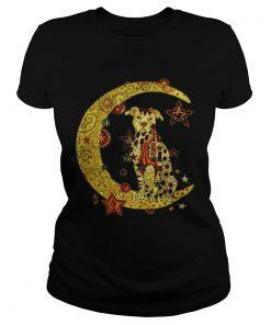 Ladies Tee Pitbull sitting on the moon shirt